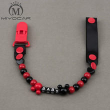 Buy MIYOCAR Personalised -Any name Hand made funny black red beads dummy clip dummy holder pacifier clips soother chain baby for $6.00 in AliExpress store