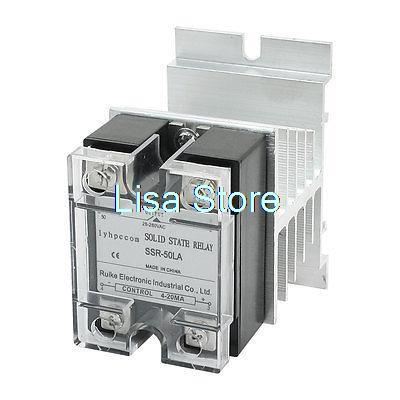 4-20mA to AC 28-280V 50A 4 Screw Terminal Heatsink 1 Phase Solid State Relay<br>