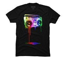Gildan Melting Boombox (digital rainbow look) Men's Graphic T Shirt