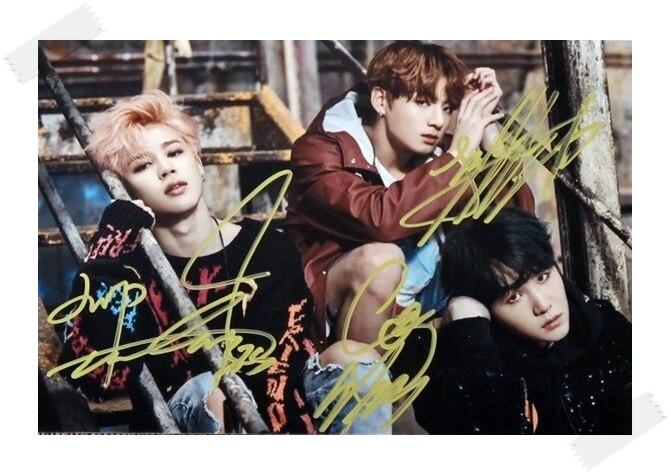 BTS JUNGKOOK JIMIN Suga autographed signed original photo You Never Walk Alone freeshipping  02.2017 <br><br>Aliexpress