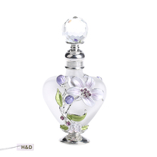 Graven Metal and Glass Empty Container Refillable Portable 9ml White Empry Gift Perfume Bottle Home Decoration(China)