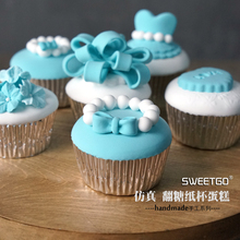 Free Shipping! Set of 7pcs Handmade Blue Simulation Cake, Cupcake Model/Artificial Fondant Cakes/Photography props~~~
