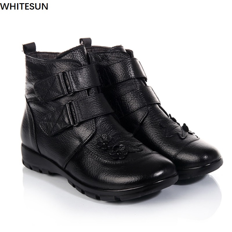 WHITESUN 2017 winter snow boots women Genuine Leather shoes wedge heel antiskid rubber bottom female ankle boots women plus size<br>