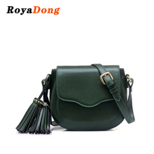RoyaDong 2017 Women Bag Artificial Leather Tassel Shoulder Bag Small Saddle For Girls Crossbody Bags For Women Messenger Bags(China)