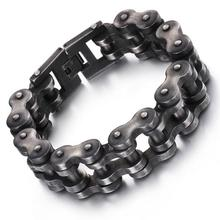 Supernova Sale 12.5mm 18mm 22mm Heavy Wide Men's Cool Black Motorcycle Chain Bracelet Bike Jewelry 316L Stainless Steel bangle(China)