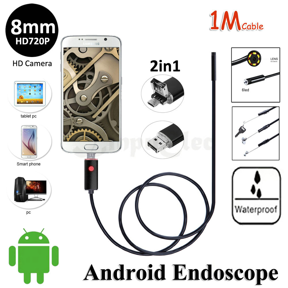 HD720P 2 In 1 Android USB Camera Endoscope 8mm OD Lens 1M Waterproof Snake Pipe Inspection OTG USB Android Borescope Camera 6LED<br><br>Aliexpress