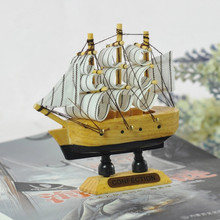 10CM Wooden Sailing Ship 1PC Mediterranean style Handmade Boat Model Shop Home Nautical Decoration Crafts Gift(China)