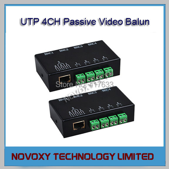 Free Shipping 1Pair CCTV 4 Channel 4CH Passive UTP Video Balun Cat5 BNC Coax Cable Adapter Transceiver (Transmitter &amp; Receiver)<br><br>Aliexpress