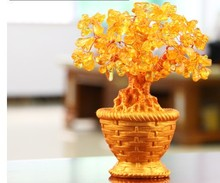 Holiday gifts natural citrine quartz crystal gem money tree in for wealth money bay(China)