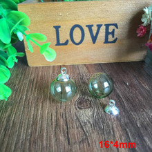 Free shipping 30sets per lot 16mm Green glass globe orbs with 4mm hole and 8mm silver cap jewelry findings set Glass bottle vial
