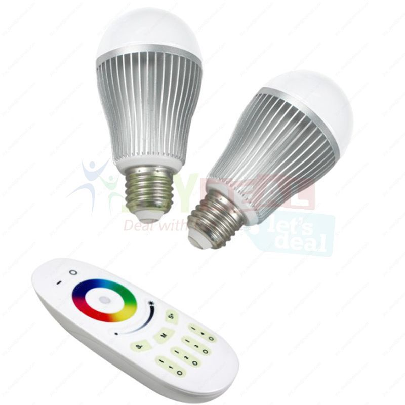 2PCS 2.4G E27 9W RGBW White or RGB Warm White 640000 Full Color Dimmable WiFi LED Bulb + 4-Zone RF Touch Scree Remote Controller<br>