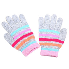 2017 Knitted Baby Winter Gloves for Kids Mittens Striped Warmer Full Finger Fingerless Gloves Girls Boys Mitten(China)