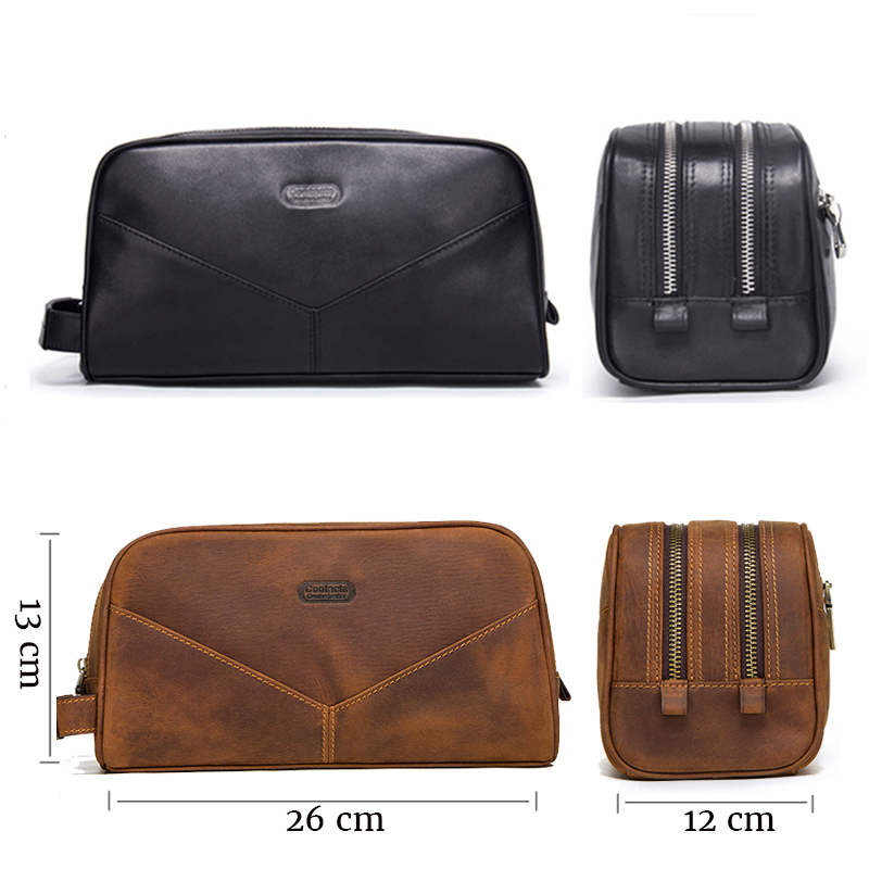 CONTACT'S cosmetic bag small for men crazy horse leather vintage toiletry case black travel bag hand-held make up wash bags male