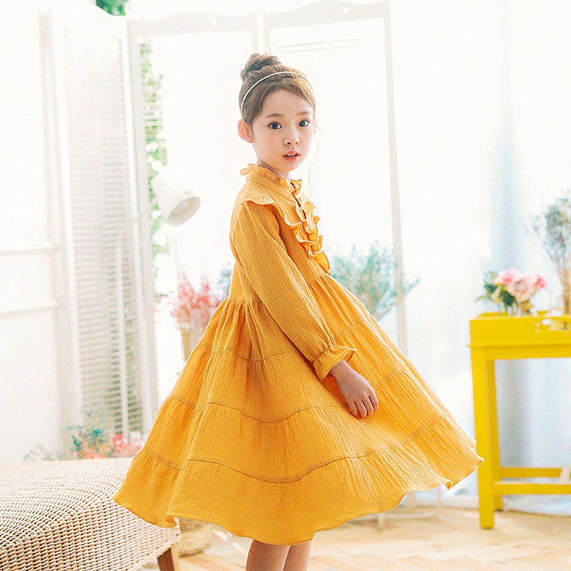 Stitching princess dress wrinkled cotton long dress spring summer yellow princess big girl long sleeve childrens clothing 2-15Y<br>