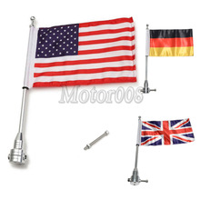 Custom Motorcycle Silver Black Gold Rear Side Mount Flag Pole with USA UK Genmany Flag for Harley Honda Yamaha Suzuki(China)