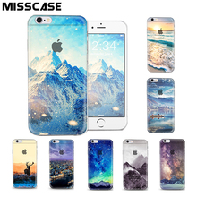 Transparent PC Hard mobile phone baq Case For iPhone 5 5S 6 6S Plus cover case beautiful scenery protection coque fundas capinha