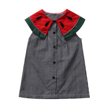 Cute Baby Girls Watermelons Dresses Princess Infant Girl plaid  Dress Button Summer Wedding baby dress 0-24M