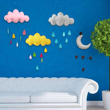 Hot Kids Play Tent Decoration Tent Props Toy Raining Clouds Water Drop Star Moon Baby Bed Room Hanging Decor Wall Stickers(China)