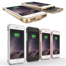 Ultra thin Metal Frame 2800mAh External Battery Charger Case For iphone 7 Portable Power Bank Case Rechargeable Phone Cover Case