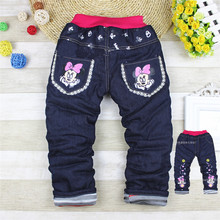 2017 Baby Girls Boys Pants Kids Jeans Minnie Trousers Autumn winter Leggings Pants Mickey Jeans Children Kitty Denim Pants