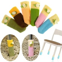 1set/4 pcs Fashion home table leg Protection cover Protect Floor Knit Flower Leg Sleeve Table Chair Foot Cover Sock(China)