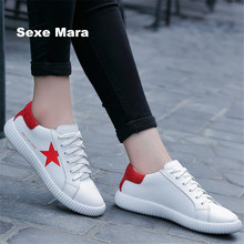 2017 Women Sneakers leather star Brand Running shoes woman sports shoes joker small white shoes Jogging Walking on foot Athletic(China)