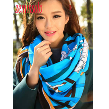 New Luxury Brand Scarves For Women Wraps Big Square 120*120cm Bandana Printed Horse Silk Scarf Shawl Scarves Women Hijab Stole