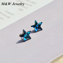 M&W 925 sterling silver star earrings small cute crystal jewelry popular small fresh earrings manufacturers wholesale M&WS1195
