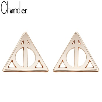 New Design Tiny Deathly Hallows Luna Triangle Stud Earrings For Women Geometrical Ethic Boucle d