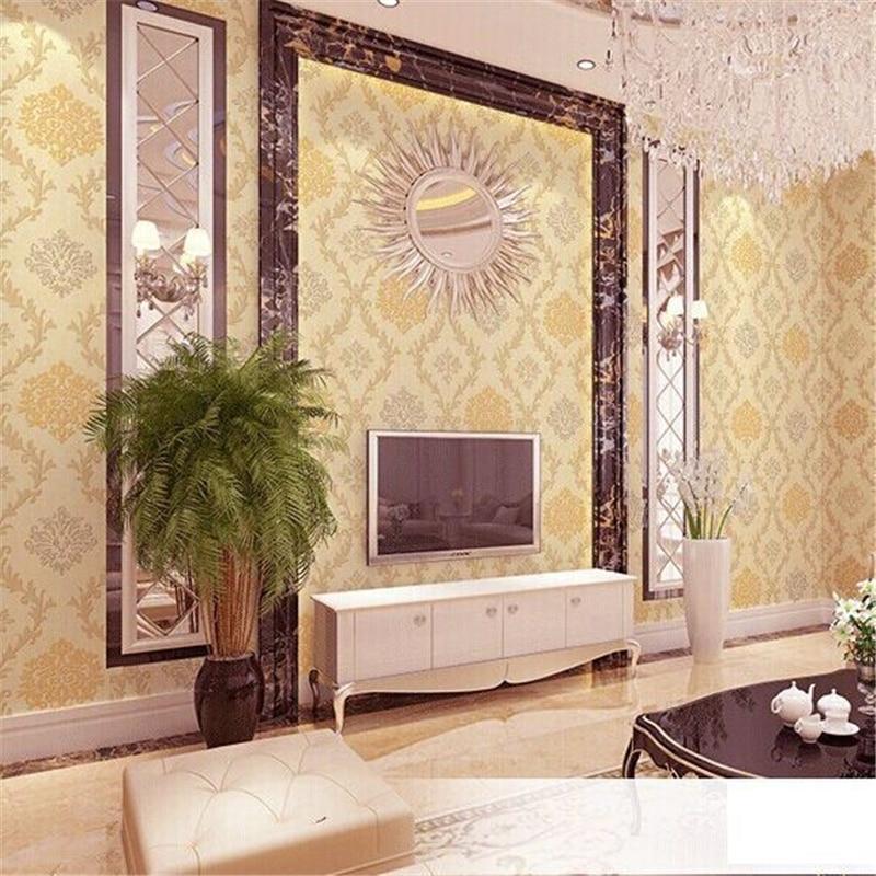 beibehang of wall paper Non-Woven European Damask Wallpaper 3D Flocking Wall Paper Roll papel de parede stencils for walls<br>