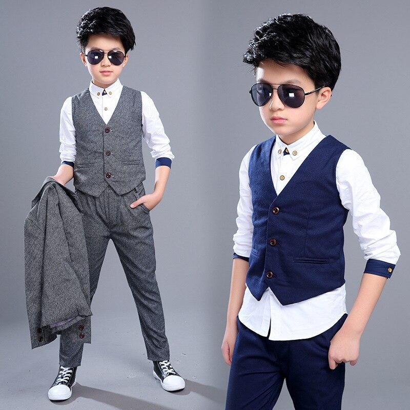 3PCS Boys Clothes Set  Vest+Blazer Jacket + Pants2017 New Children Autumn Clothes Suit<br>
