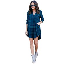 YJSFG HOUSE Womens Ladies Long Sleeve Dress Autumn Plaid Loose Check Shirt Dresses Casual Clubwear Tops Red Deep V-neck Dress(China)