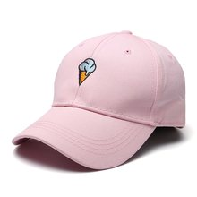 Ice Cream Print Baseball Cap White Pink Snapback Bone Caps Fashion Solid Hip Hop Gorras Hats Summer Casquette Adjustable Sun Hat(China)