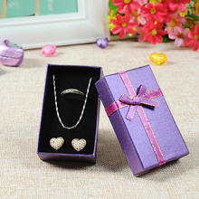 6Pc Paper Square Package Bow 5*8 Jewelry Ring Earring Necklace Bracelet Present Gift Box Case wedding Christmas Package Storage(China)