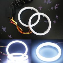 2PCS Dual Color Auto Headlight Halo Rings Light Guide Angle ring 12V 24V White+Yellow Color drl Car Fog Cotton light for any car