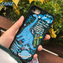 TANZ Liquid Glitter meteor sand sequins Colorful Dynamic Starry sky Dinosaur Hard Phone Cases For iphone 6 6S 7 plus Back Cover