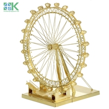 2016 New Arrival SKBritish architecture London Eye golden ICONX METAL EARTH 3D Metal model Etching puzzle brass like NEW Challen