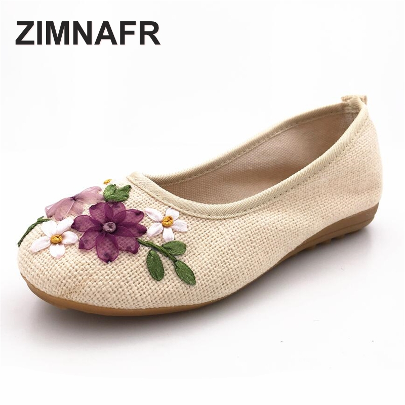 ZIMNAFR BRAND 2017 NEW WOMEN LINEN EMBROIDERED SHOES NATURAL MATERIAL HEMP WOMEN SHOES  SIZE 35-40<br>