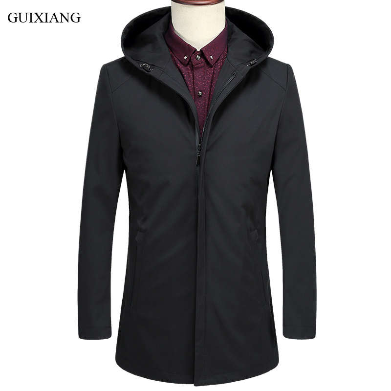 2018 New Arrival Style Men Boutique Leisure Trench Coat Business Casual Solid Zipper Hooded Men's Slim Trench Dress Size S-3XL