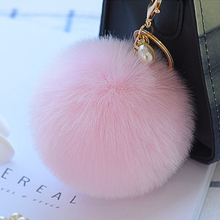 Buy Pompom Fur Keychain Crystal Pearl Rabbit Fur Ball Key Chain Fluffly pompon Key Ring llavero porte clef sleutelhanger Bag Charm for $1.08 in AliExpress store
