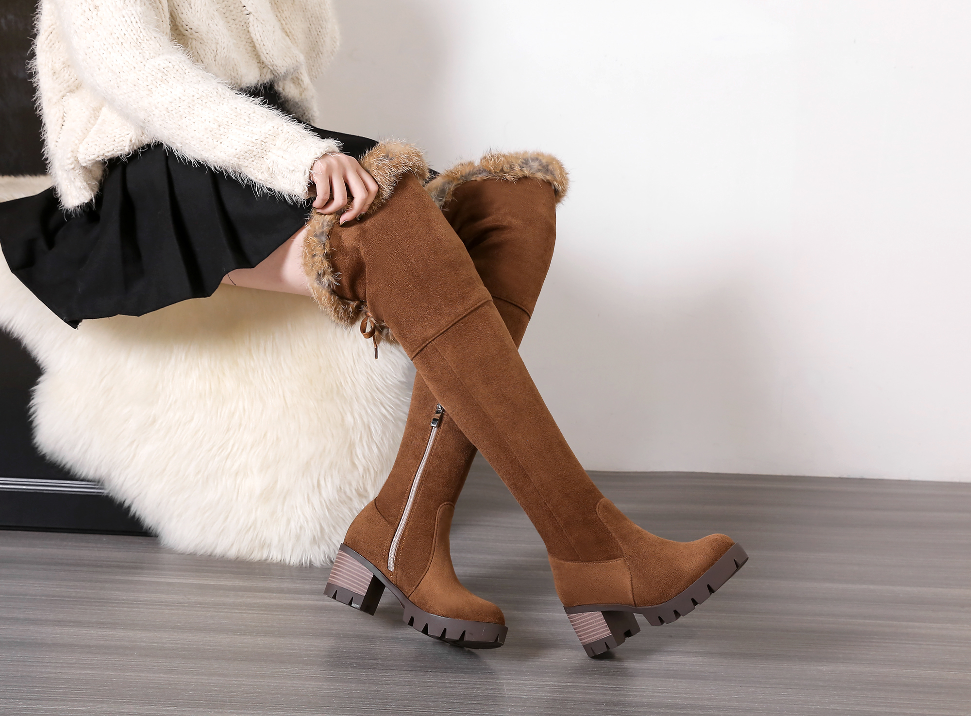 Faux Suede Sexy thigh high boots Women over the knee boots Ladies High heels Winter snow boots black brown shoes woman