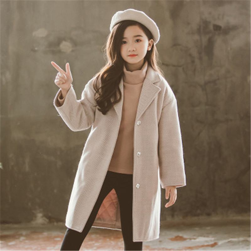 2019 New Autumn Winter Teenage Girl Solid Thick Wool Coat Baby Girl Overcoats Clothes Kids Girls Woolen Outerwear With Belt L376