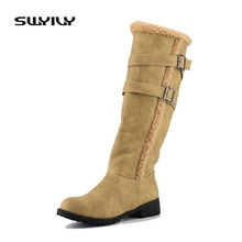 SWYIVY Women Boots High Boot Square Heel Fashion Shoes Winter Boot Knee High Boots Women Winter PU Leather Girl Shoes(China)