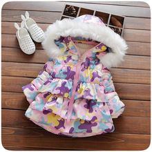 Girls Jacket Winter Outerwear Kids Fashion camouflage Jackets Children Cute Lace Coat Trench Fur Clothing Baby Girls Clothes