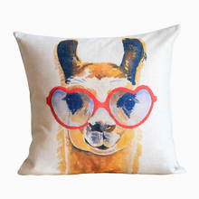 Linen Cushion Cover Throw decorative cushion cover 45cm*45cm Watercolor Giraffe  Pillow Case Black Grey Yellow Blue