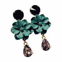 XIAO YOUNG Dark Green Crystal Flower Long Earrings 2017 New Fashion Elegant Jewelry For Women Cute Gift Wholesale
