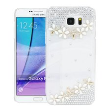 Newest Luxury DIY Flower Crystal Bling Pearls PC Hard Back Case Cover for Samsung Galaxy J1 2016 J1 Mini J3 2016 J5 2016 J7 2016