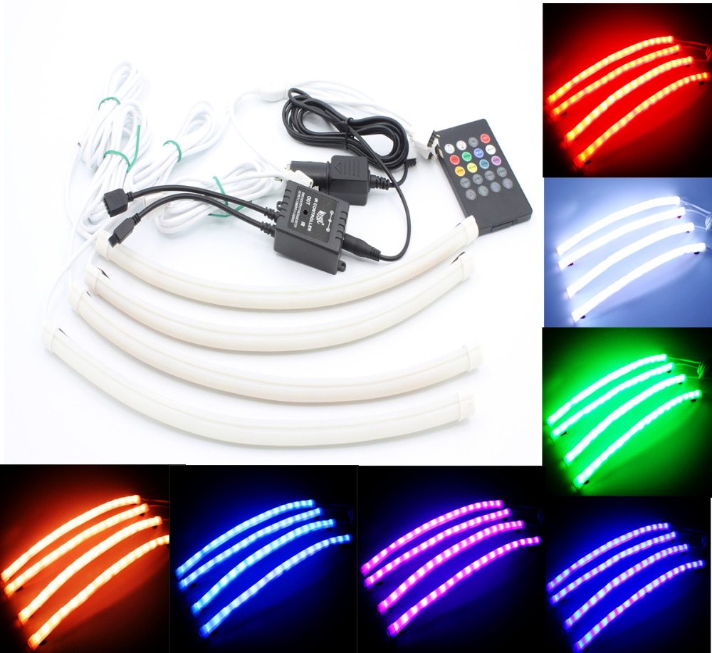 Free Shipping 1Set 7 Color 36 x 2 &amp; 24 x 2 Under Car LED Glow Underbody System Neon Lights Kit For VW Toyota Mazda Hyundai<br>