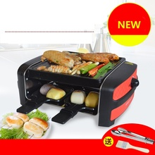 RKJ58B Mini 600w Multifunctional Double Layers Smokeless Electric Pan Grill BBQ Grill Raclette Grill Electric Griddle