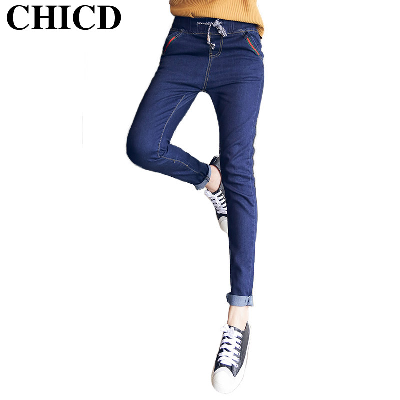 CHICD Woman Jeans New 2017 Skinny Pencil Jeans for Women Fashion Slim Washed Blue Drawstring Jeans Womens Denim Pants XP315Одежда и ак�е��уары<br><br><br>Aliexpress